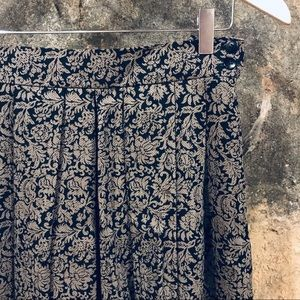 Jaeger vintage floral brocade print pleated skirt